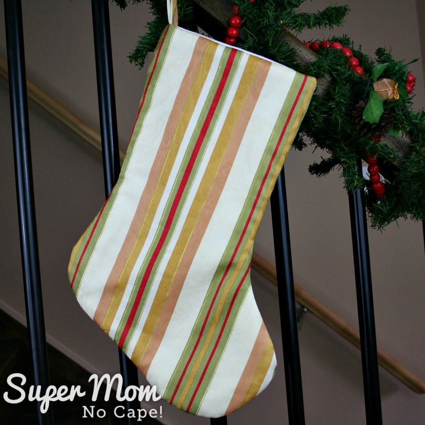 Traditional Striped Red and Gold Christmas Stocking