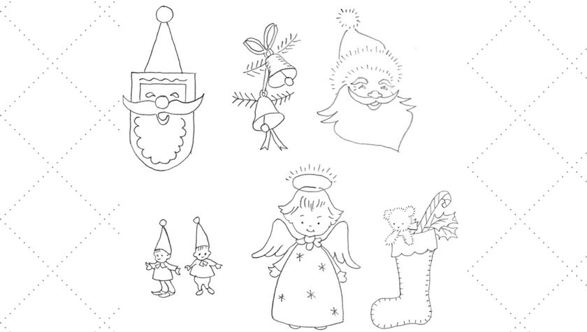 Small Christmas Motif Embroidery Patterns