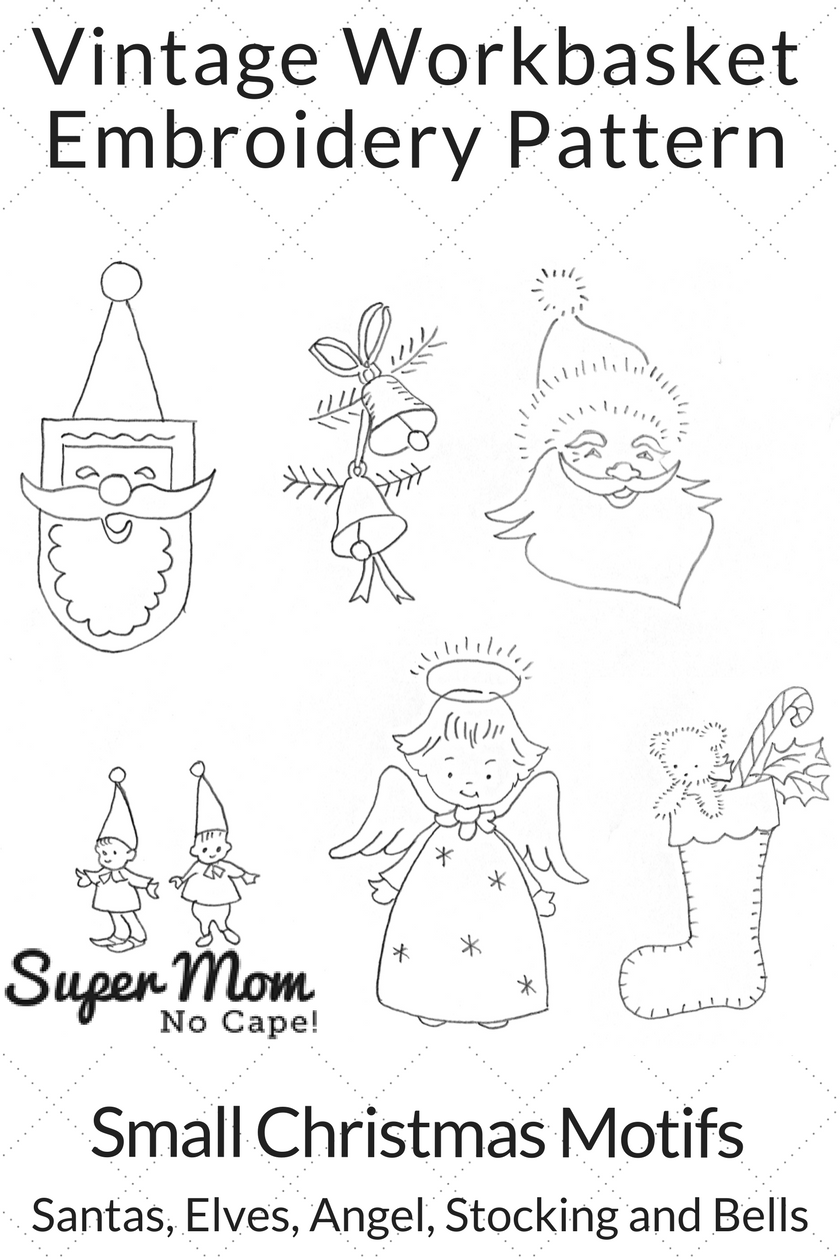 Vintage Workbasket Embroidery Pattern - Small Christmas Motifs - Santas Elves Angel Stocking and Bells