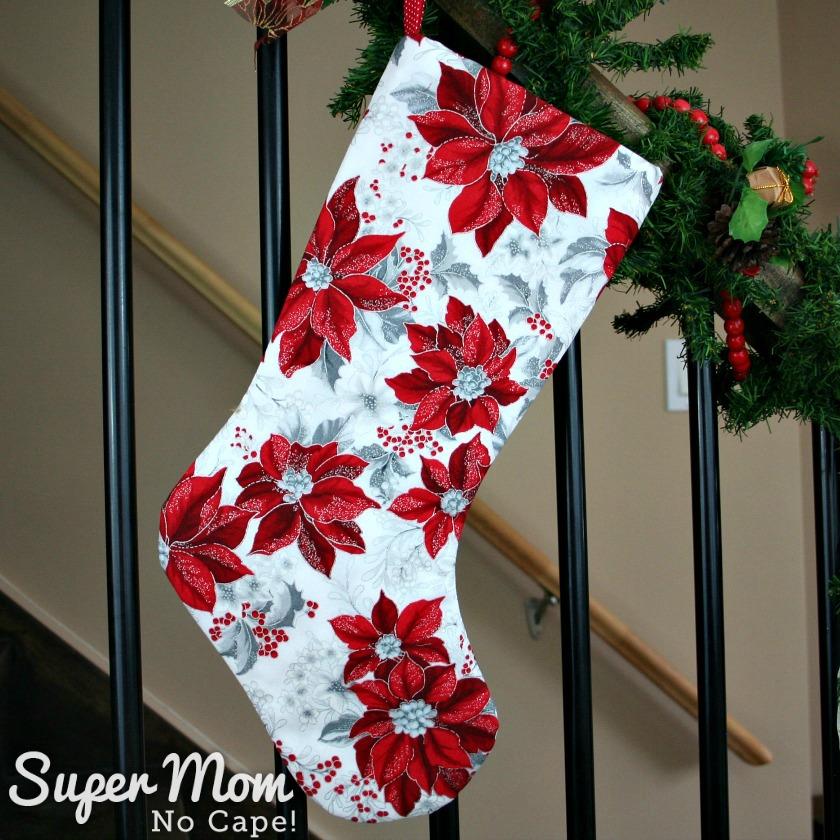 White with Red Poinsettia Christmas Stocking