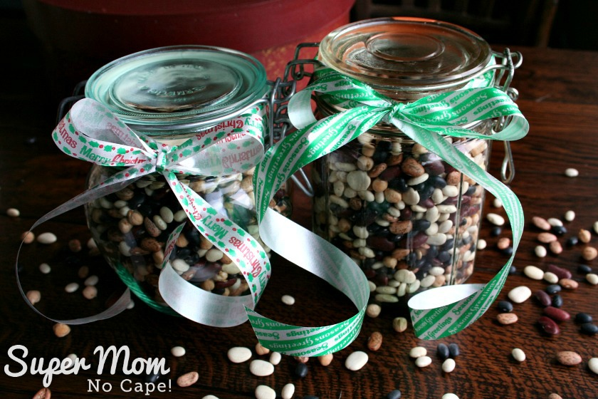Bean Soup in a Jar Mix - 2 Jars of Dried Bean Soup Mix tied with ribbon