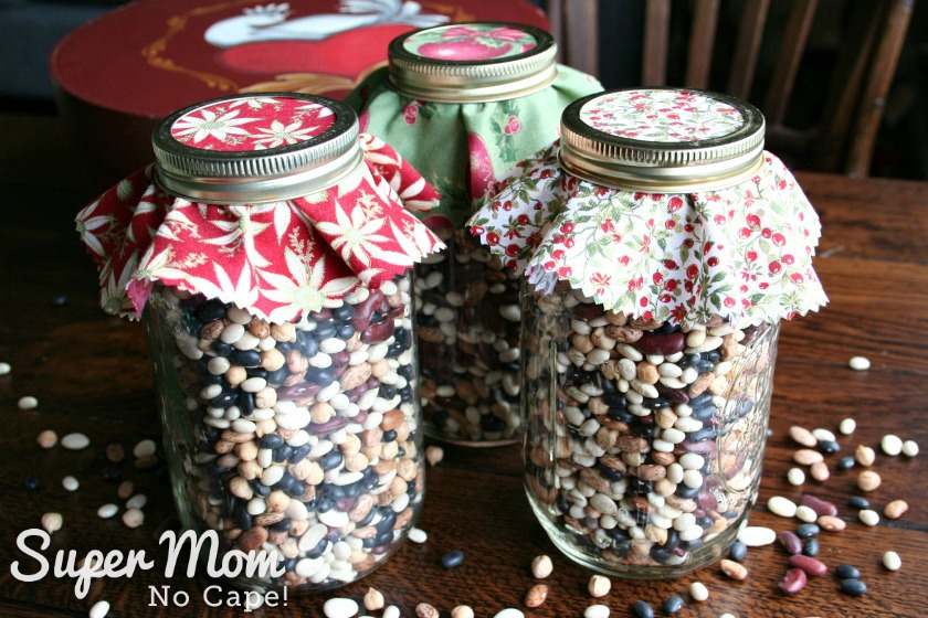 Bean Soup in a Jar Mix - Three jars of fabric topped dried bean soup mix