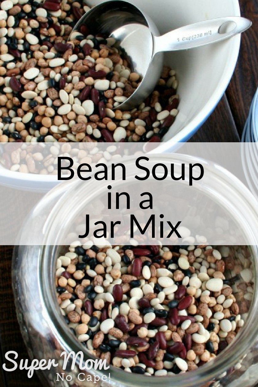 Bean Soup in a Jar Mix - scooping beans into the jar