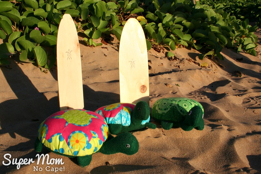 Hexie Turtles with surf boards