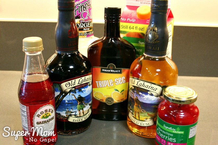 Photo of all the ingredients for Mistys Maui Mai Tais