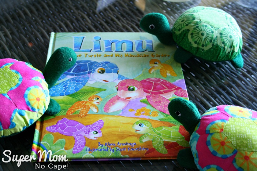 The Hexie Turtles with their new book - Limu the Blue Turtle and his Hawaiian Garden