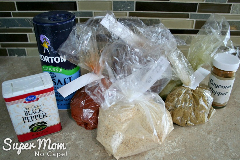 Bags and containers of spices to make homemade Taco Seasoning