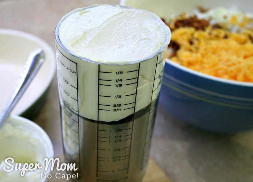 Measure one cup of sour cream