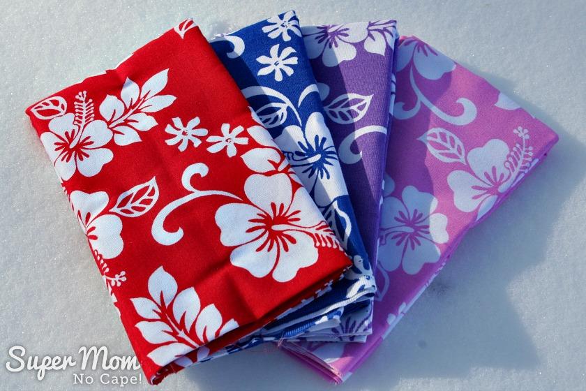 Fat quarter bundle of Aloha fabric fanned out