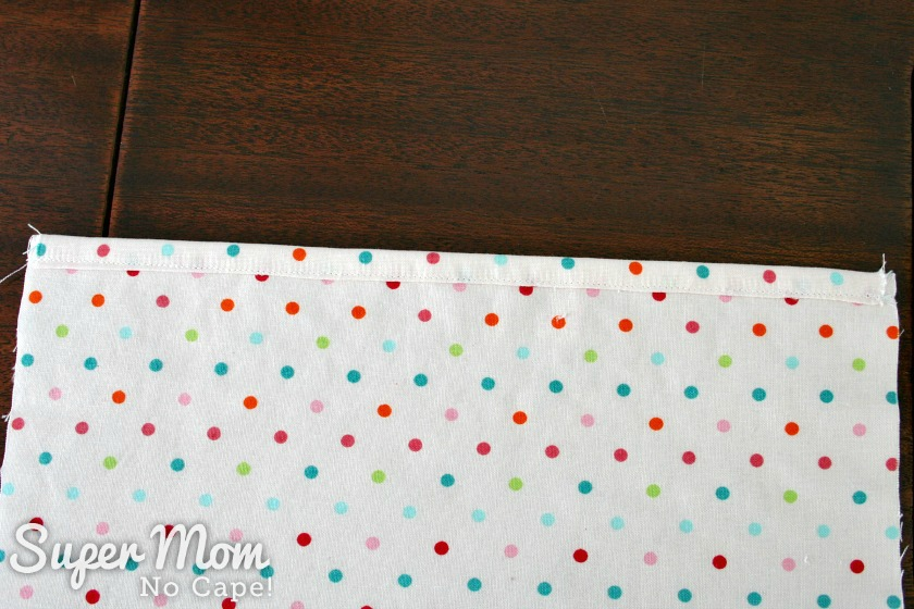 Photo of lining side with binding sewn in place