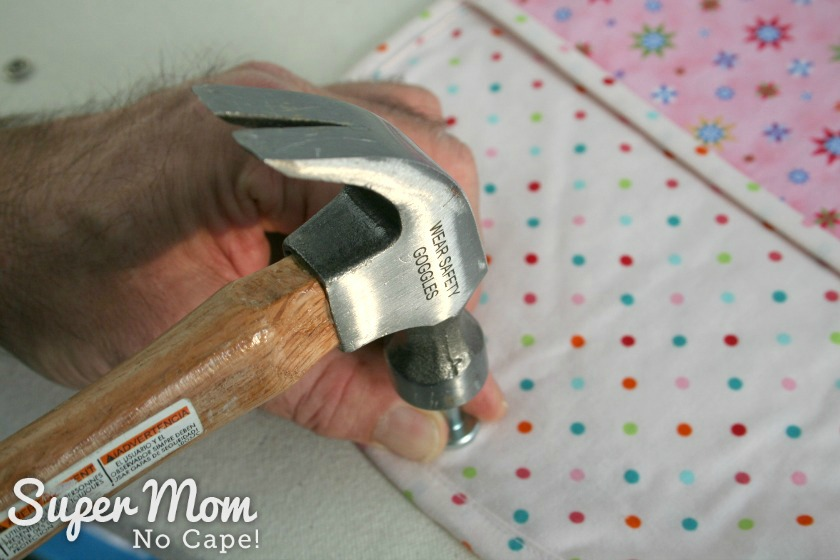 Using a hammer and tool provided secure snap pieces together