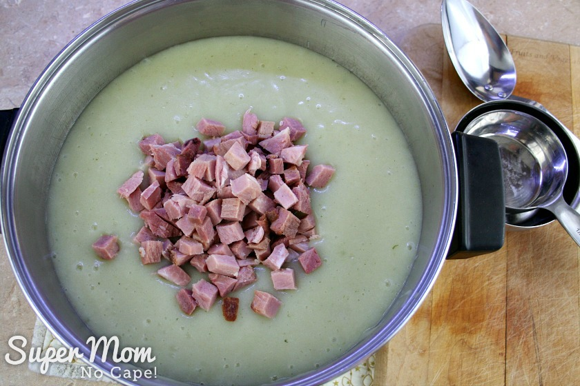 Chopped ham added to the Luck of the Irish Potato soup