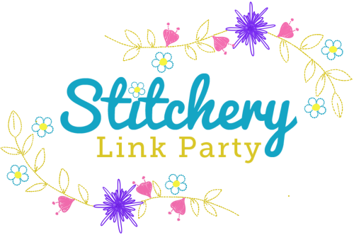 New Stitchery Link Party Transparent Button