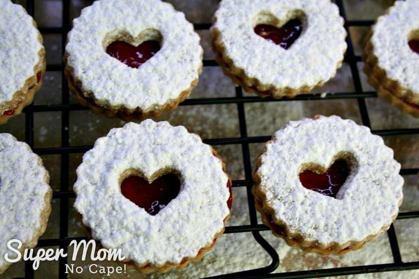 Photo of Snow Storm Linzer Cookies on a cookie rack