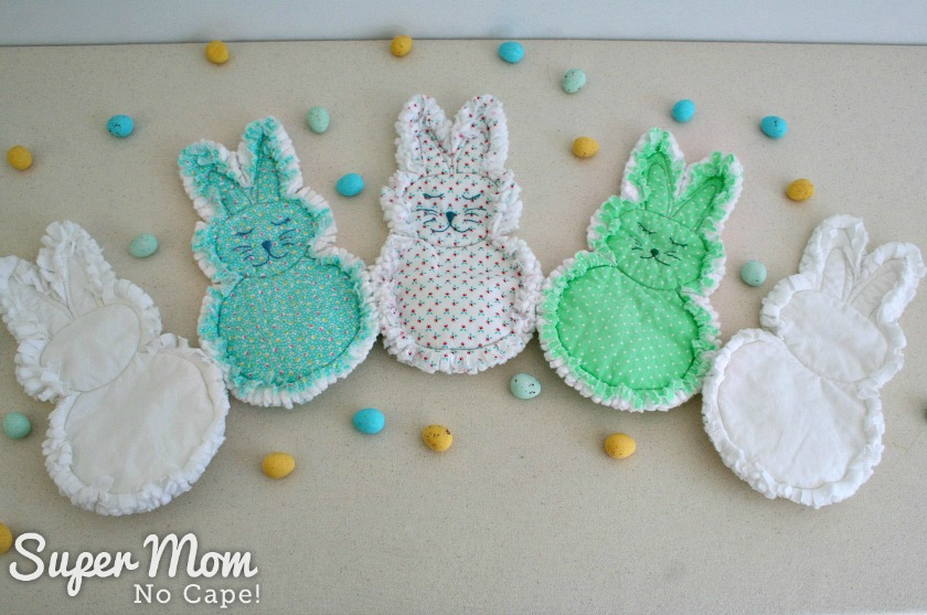 Photo of the all rag quilt bunnies pictured with candy eggs made for Craft Room DeStash Challenge