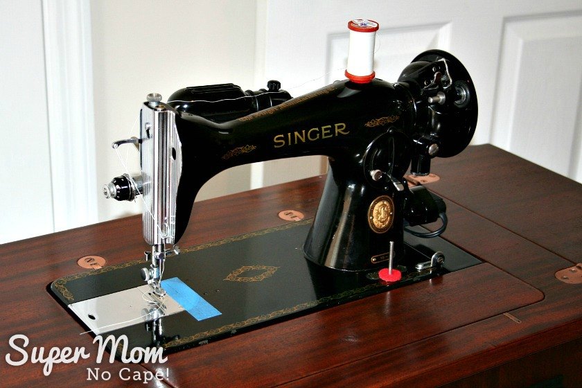 Close up of Singer 15-91 in her new home in the Art Deco Sewing Machine Cabinet