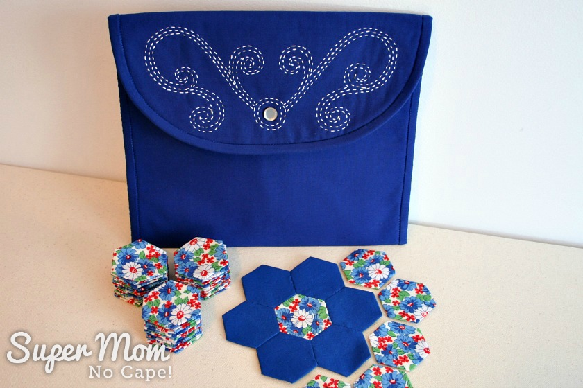 Making Waves Sashiko Embroidered Pouch pictured with floral and blue hexies and hexie flower