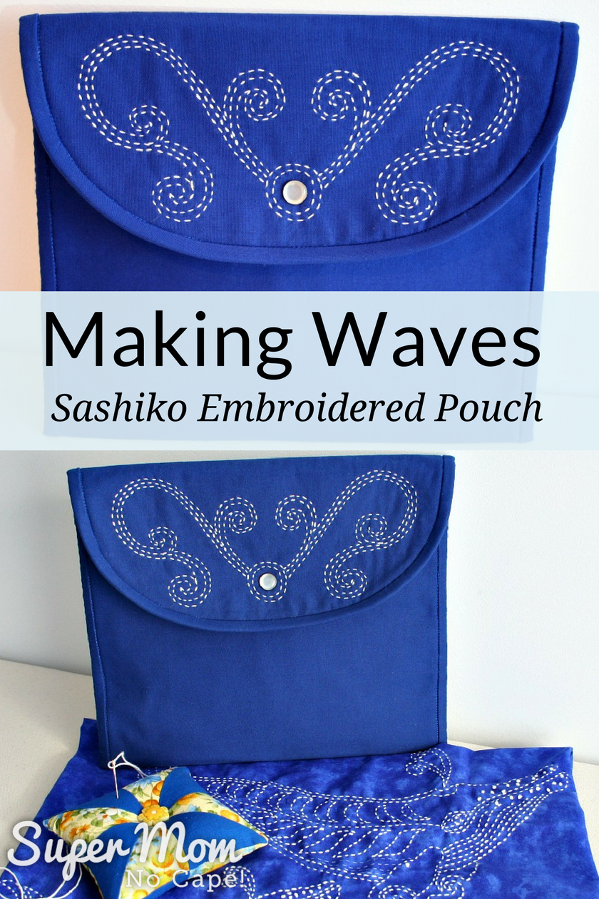 Making Waves - Sashiko Embroidered Pouch