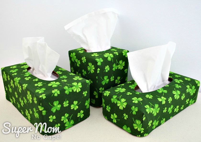 Photo of Three reversible tissue box covers made with shamrock fabric in different sizes