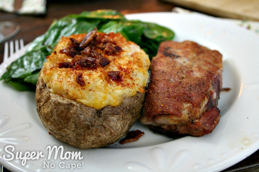 Twice Baked Potato served with pork ribs and salad