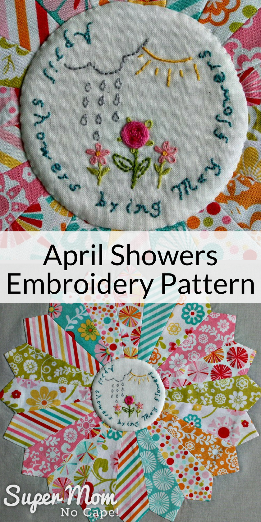 April Showers Embroidery pattern stitched on to the center of a Dresden plate block