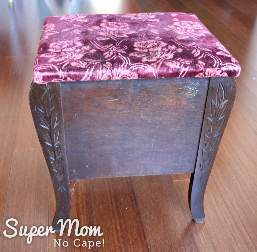 Thrift store stool with lid and hidden storage