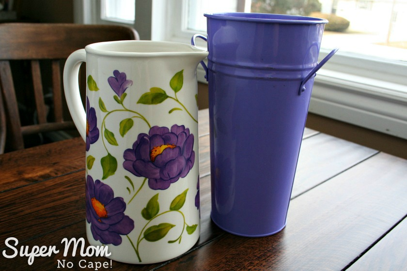 White floral and purple vase