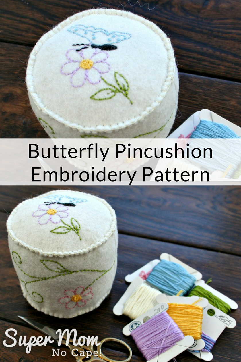 Collage photo of the top and side of the Butterfly Pincushion Embroidery Pattern