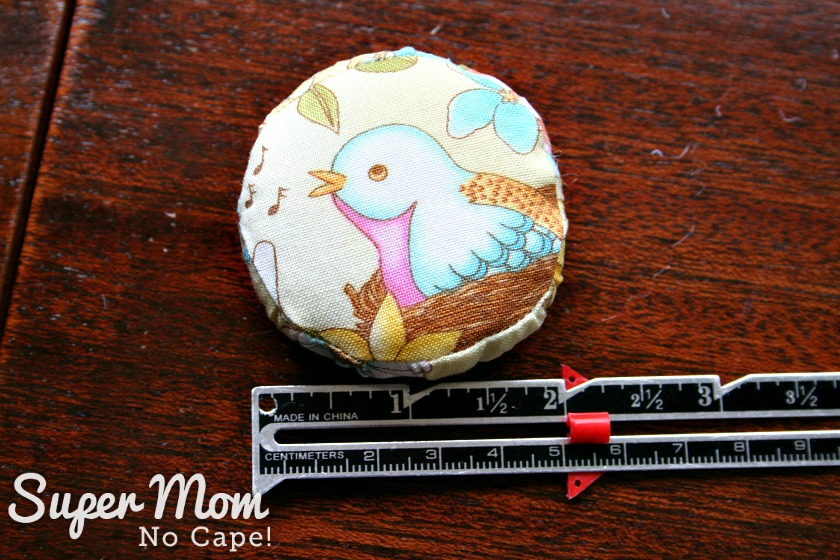 Finished 2 inch pincushion for Glasses Case Sewing Kit