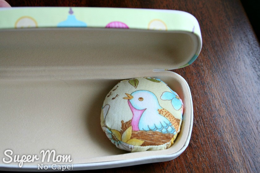 Pincushion inside Glasses Case Sewing Kit