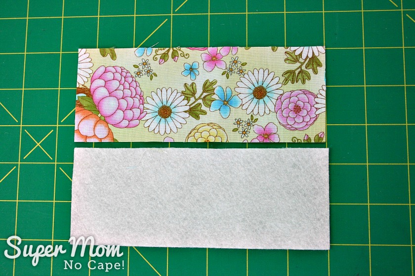 Two 6 and a half inch by 2 and one half inch pieces of fabric for needlebook for Glasses Case Sewing Kit