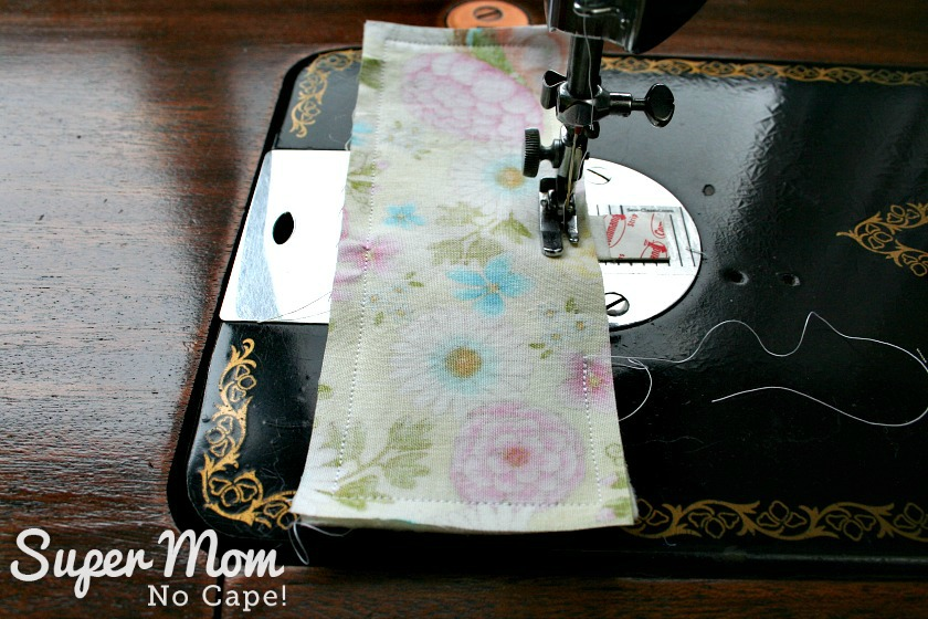Sewing two rectangles together for needle book for Glasses Case Sewing Kit