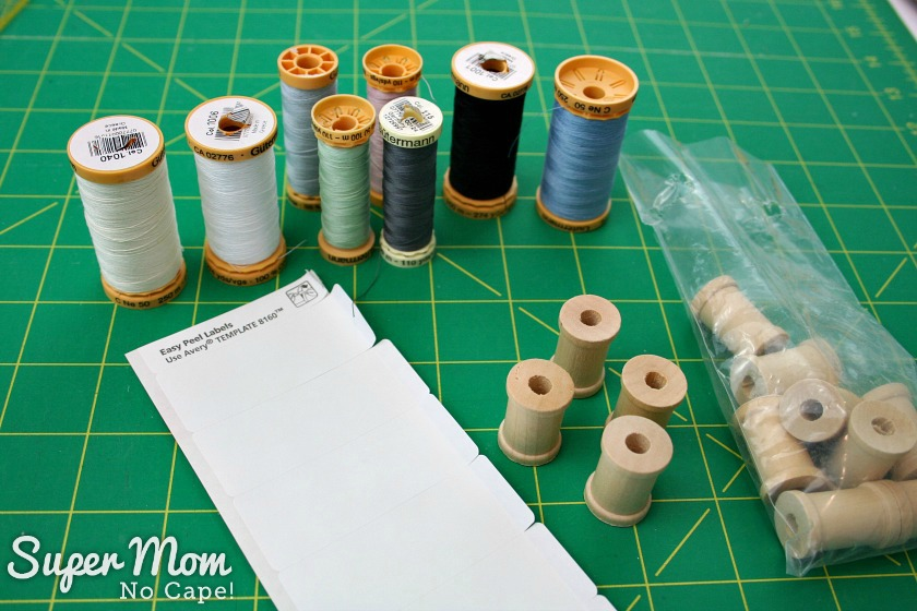 Wooden spool, thread and stickers needed for mini thread spools for Glasses Case Sewing Kit