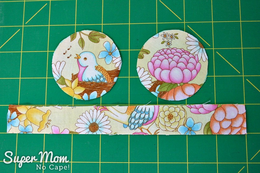 Two circles of fabric and on rectangle cut for pincushion for Glasses Case Sewing Kit