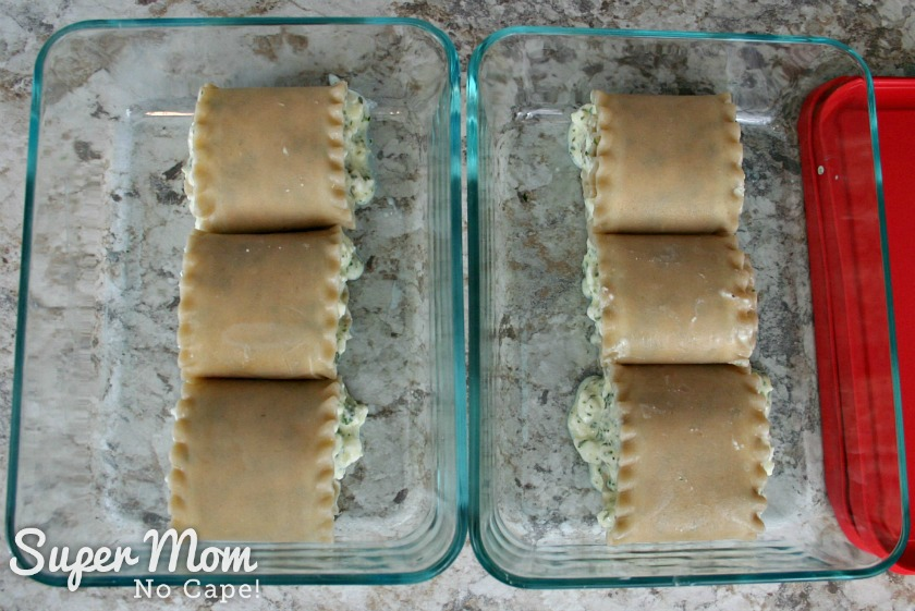 Three Lasagna Roll Ups in each of 2 dishes