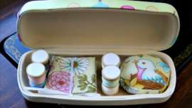 Contents of Sewing Themed Glasses Case Sewing Kit