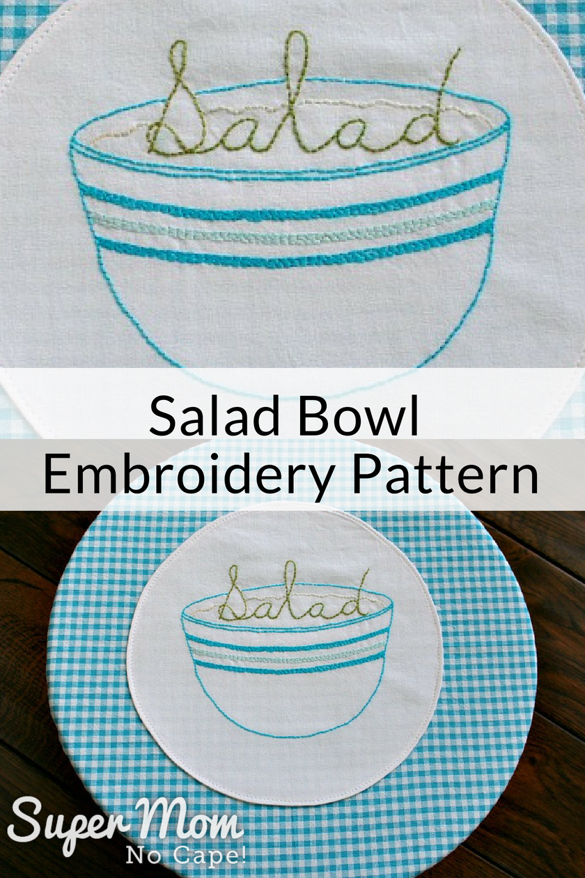 Salad Bowl Embroidery Pattern collage photos of the pattern stitched on white fabric and appliqued on blue gingham