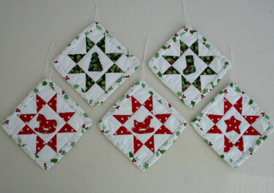Sawtooth Star Ornament with Applique Center