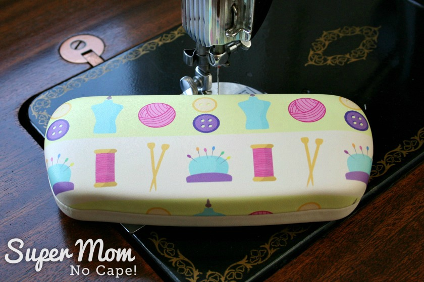 Sewing themed eye glasses case with sewing notions