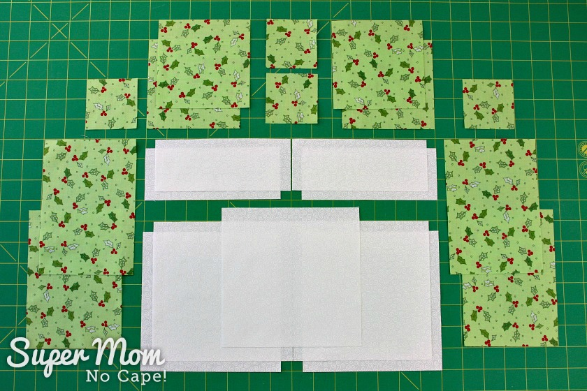 Fabric cut to make the Quilting Christmas Wreath Pillow Cover