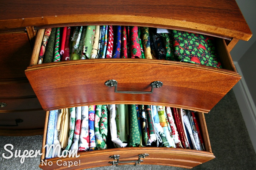 2 drawers filled with Christmas fabric
