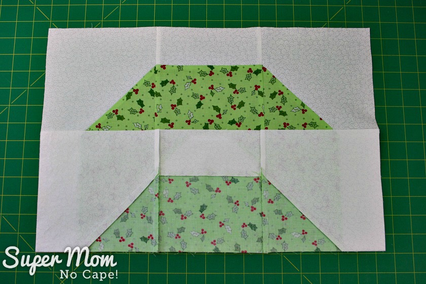 Flip bottom row up onto center row of Christmas Wreath block