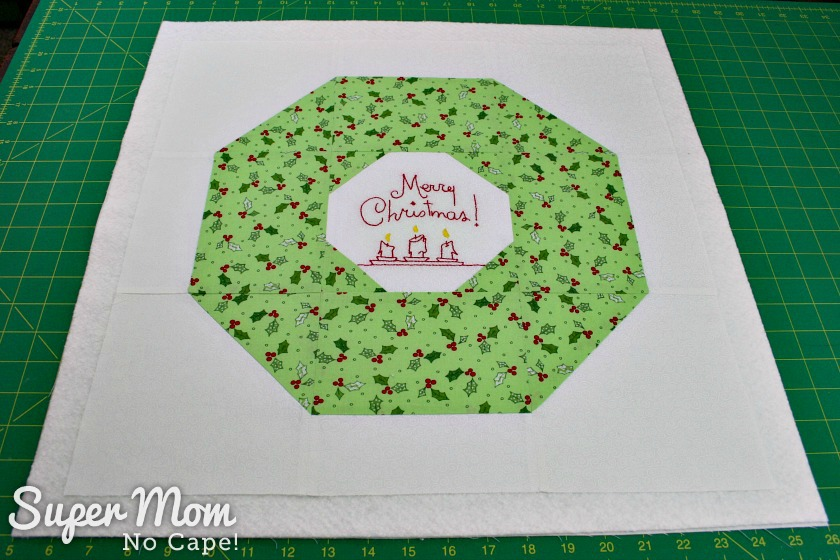 Christmas Wreath block layered ready to baste