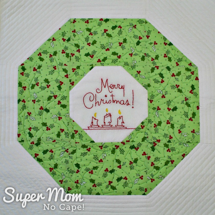Quilting on Christmas wreath block