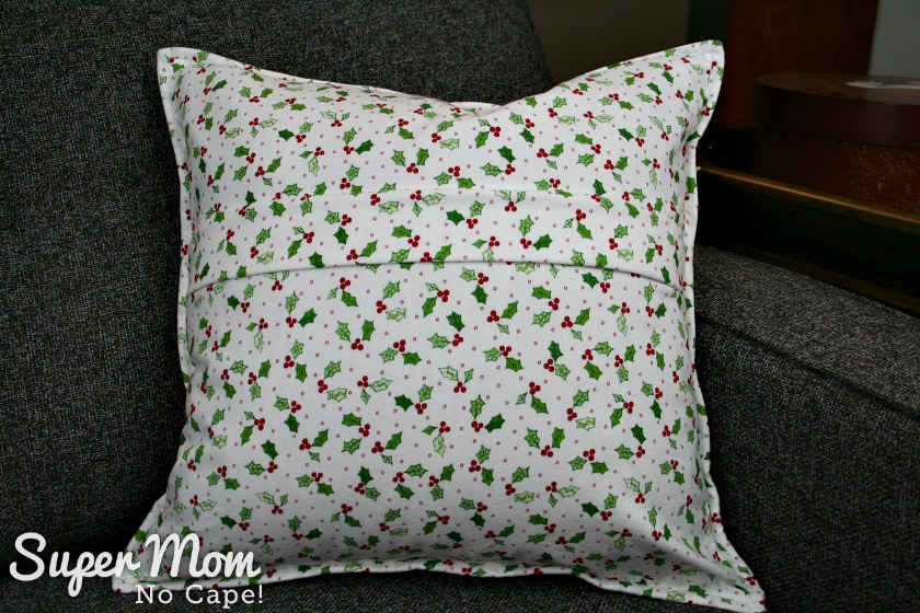 Back of Quilted Christmas Wreath Pillow Cover