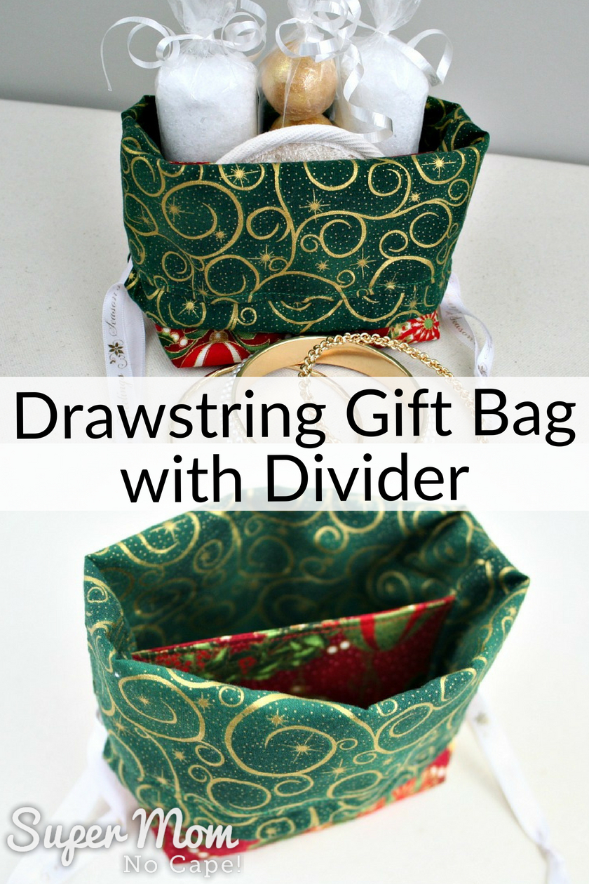 Collage photos of Drawstring Gift Bag with Divider