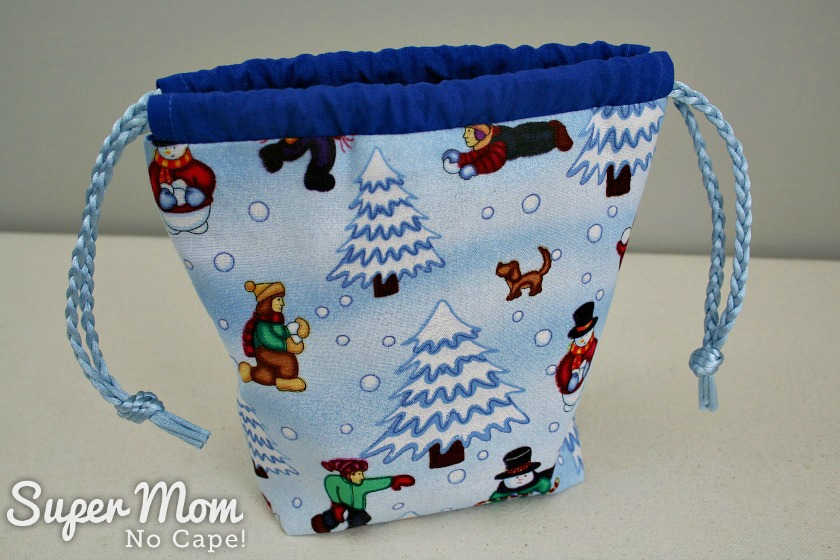 Finished Snowball Fight Drawstring Gift Bag