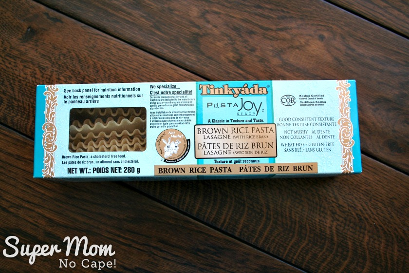 Package of Tinkyada brown rice lasagna noodles