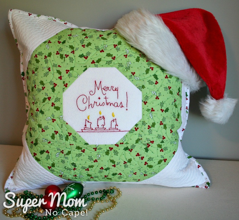Quilted Christmas Wreath Pillow Cover with Santa Hat, beads and ornaments
