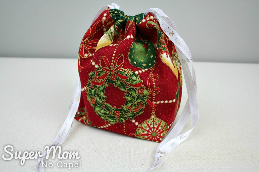 Tradition Christmas Fabric Drawstring Gift Bag